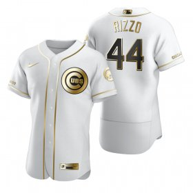 Wholesale Cheap Chicago Cubs #44 Anthony Rizzo White Nike Men\'s Authentic Golden Edition MLB Jersey