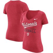 Wholesale Cheap Washington Nationals Nike Women's Practice 1.7 Tri-Blend V-Neck T-Shirt Heathered Red