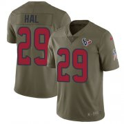 Wholesale Cheap Nike Texans #29 Andre Hal Olive Youth Stitched NFL Limited 2017 Salute to Service Jersey