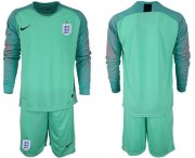 Wholesale Cheap England Blank Green Long Sleeves Goalkeeper Soccer Country Jersey