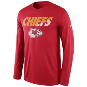 Wholesale Cheap Men\'s Kansas City Chiefs Nike Red Legend Staff Practice Long Sleeves Performance T-Shirt