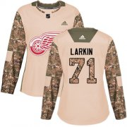 Wholesale Cheap Adidas Red Wings #71 Dylan Larkin Camo Authentic 2017 Veterans Day Women's Stitched NHL Jersey