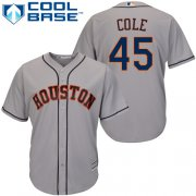 Wholesale Cheap Astros #45 Gerrit Cole Grey Cool Base Stitched Youth MLB Jersey