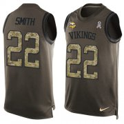 Wholesale Cheap Nike Vikings #22 Harrison Smith Green Men's Stitched NFL Limited Salute To Service Tank Top Jersey