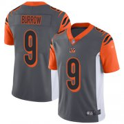Wholesale Cheap Nike Bengals #9 Joe Burrow Silver Men's Stitched NFL Limited Inverted Legend Jersey