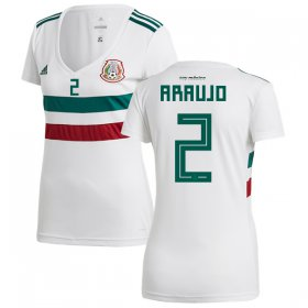 Wholesale Cheap Women\'s Mexico #2 Araujo Away Soccer Country Jersey