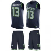 Wholesale Cheap Nike Seahawks #13 Phillip Dorsett Steel Blue Team Color Men's Stitched NFL Limited Tank Top Suit Jersey