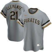 Wholesale Cheap Pittsburgh Pirates #21 Roberto Clemente Nike Road Cooperstown Collection Player MLB Jersey Gray
