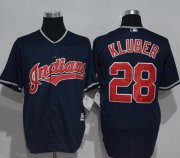 Wholesale Cheap Indians #28 Corey Kluber Navy Blue New Cool Base Stitched MLB Jersey