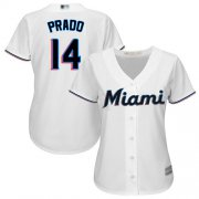 Wholesale Cheap Marlins #14 Martin Prado White Home Women's Stitched MLB Jersey