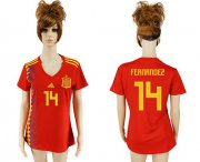 Wholesale Cheap Women's Spain #14 Fernandez Red Home Soccer Country Jersey