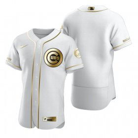 Wholesale Cheap Chicago Cubs Blank White Nike Men\'s Authentic Golden Edition MLB Jersey