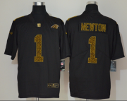 Wholesale Cheap Men's Carolina Panthers #1 Cam Newton Black 2020 Nike Flocked Leopard Print Vapor Limited NFL Jersey