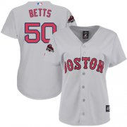 Wholesale Cheap Red Sox #50 Mookie Betts Grey Road 2018 World Series Champions Women's Stitched MLB Jersey