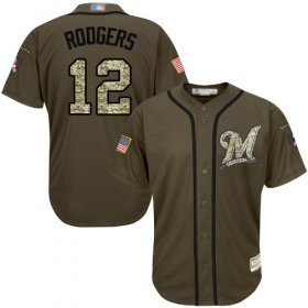 Wholesale Cheap Brewers #12 Aaron Rodgers Green Salute to Service Stitched MLB Jersey