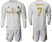 Wholesale Cheap Real Madrid #7 Ronaldo White Home Long Sleeves Soccer Club Jersey