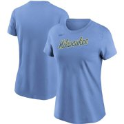 Wholesale Cheap Milwaukee Brewers Nike Women's Cooperstown Collection Wordmark T-Shirt Powder Blue