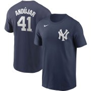 Wholesale Cheap New York Yankees #41 Miguel Andujar Nike Name & Number Team T-Shirt Navy