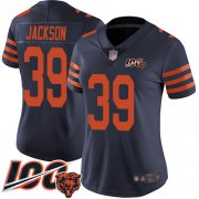 Wholesale Cheap Nike Bears #39 Eddie Jackson Navy Blue Alternate Women's Stitched NFL 100th Season Vapor Limited Jersey