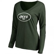 Wholesale Cheap Women's New York Jets Pro Line Primary Team Logo Slim Fit Long Sleeve T-Shirt Green