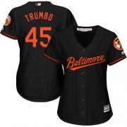 Wholesale Cheap Orioles #45 Mark Trumbo Black Alternate Women's Stitched MLB Jersey