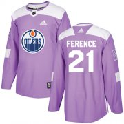 Wholesale Cheap Adidas Oilers #21 Andrew Ference Purple Authentic Fights Cancer Stitched NHL Jersey