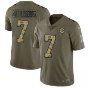 Wholesale Cheap Nike Steelers #7 Ben Roethlisberger Olive/Camo Youth Stitched NFL Limited 2017 Salute to Service Jersey