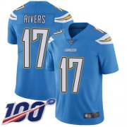 Wholesale Cheap Nike Chargers #17 Philip Rivers Electric Blue Alternate Men's Stitched NFL 100th Season Vapor Limited Jersey