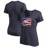 Wholesale Cheap Women's Denver Broncos NFL Pro Line by Fanatics Branded Navy Banner State V-Neck T-Shirt