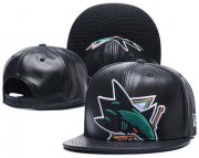 Wholesale Cheap NHL San Jose Sharks Team Logo Black Adjustable Hat L15