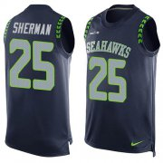 Wholesale Cheap Nike Seahawks #25 Richard Sherman Steel Blue Team Color Men's Stitched NFL Limited Tank Top Jersey