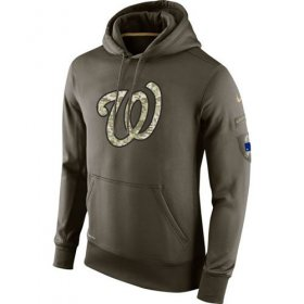 Wholesale Cheap Men\'s Washington Nationals Nike Olive Salute To Service KO Performance Hoodie