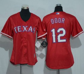Wholesale Cheap Rangers #12 Rougned Odor Red Women\'s Alternate Stitched MLB Jersey