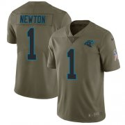 Wholesale Cheap Nike Panthers #1 Cam Newton Olive Youth Stitched NFL Limited 2017 Salute to Service Jersey