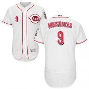 Wholesale Cheap Reds #9 Mike Moustakas White Flexbase Authentic Collection Stitched MLB Jersey