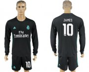 Wholesale Cheap Real Madrid #10 James Away Long Sleeves Soccer Club Jersey