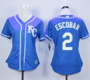 Wholesale Cheap Royals #2 Alcides Escobar Blue Alternate 2 Women's Stitched MLB Jersey
