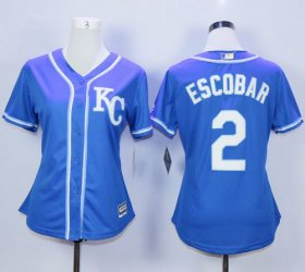 Wholesale Cheap Royals #2 Alcides Escobar Blue Alternate 2 Women\'s Stitched MLB Jersey