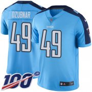 Wholesale Cheap Nike Titans #49 Nick Dzubnar Light Blue Youth Stitched NFL Limited Rush 100th Season Jersey