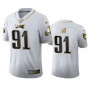 Wholesale Cheap Philadelphia Eagles #91 Fletcher Cox Men's Nike White Golden Edition Vapor Limited NFL 100 Jersey