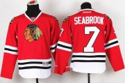 Wholesale Cheap Blackhawks #7 Brent Seabrook Red Stitched Youth NHL Jersey