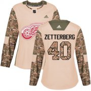 Wholesale Cheap Adidas Red Wings #40 Henrik Zetterberg Camo Authentic 2017 Veterans Day Women's Stitched NHL Jersey