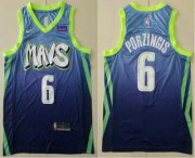 Wholesale Cheap Men's Dallas Mavericks #6 Kristaps Porzingis Blue 2020 Nike City Edition Swingman Jersey With The Sponsor Logo