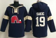 Wholesale Quebec Nordiques #19 Joe Sakic Blue Pullover NHL Hoodie