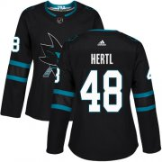 Wholesale Cheap Adidas Sharks #48 Tomas Hertl Black Alternate Authentic Women's Stitched NHL Jersey