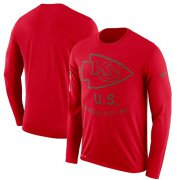 Wholesale Cheap Men's Kansas City Chiefs Nike Red Salute to Service Sideline Legend Performance Long Sleeve T-Shirt