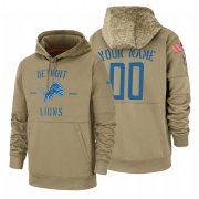 Wholesale Cheap Detroit Lions Custom Nike Tan 2019 Salute To Service Name & Number Sideline Therma Pullover Hoodie