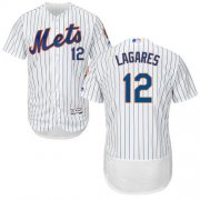 Wholesale Cheap Mets #12 Juan Lagares White(Blue Strip) Flexbase Authentic Collection Stitched MLB Jersey