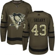 Wholesale Cheap Adidas Penguins #43 Conor Sheary Green Salute to Service Stitched NHL Jersey