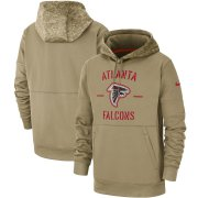 Wholesale Cheap Men's Atlanta Falcons Nike Tan 2019 Salute to Service Sideline Therma Pullover Hoodie